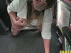 Hot babe fucked at a bus