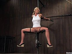 This kinky and desirable siren Mason is being humiliated so fucking hard! She gets nailed on the bondage and the fucking machine makes her twat squirt!