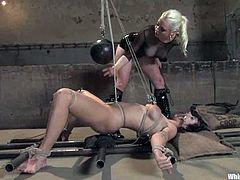 Beverly Hills gets bound by blonde dominatrix Lorelei Lee. Lorelei rubs Beverly's snatch with a rope and then pounds her pink cave with a strapon.