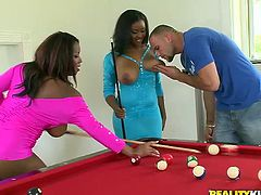 These big-titted ebony lesbians lick each other's pussies by the pool while a white guy shoves his hard prick up their wet holes.