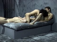 Enjoy watching amazing retro MMF threesome from The Classic Porn studios. Tight ebony babe gives blowjob while white dude fucks her hairy drooling cunt doggystyle.