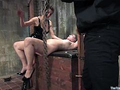 Horny chick gets tied up and whipped painfully. After that she gets her wet vagina fingered and fucked.