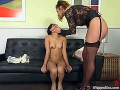The only tool that she uses is a strapon. But before penetration her wet beaver, honey slaps her ass and warms her up for pain.