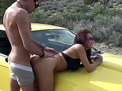 Our girls are very very naughty. Here we have two lesbian couples that love to use sex toys. They fuck like bad girls but none is more of a bad ass then this redhead. The whore loves a man with a nice car and a big cock and bends in front of him on the car's hood to get fucked from behind