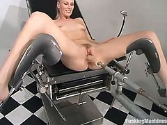 Sexy honey with a fine ass is getting a machine penetration