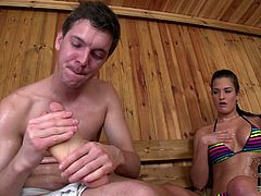 She lies and enjoys of this sauna. Then here comes a cute guy and massages her legs and tits. Then he gets a foot fetish from Nicole in DDF Network xxx video!
