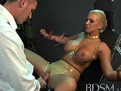 Busty slave toyed with dominant master in the dungeon. There is no stopping the fun as she lets him do whatever he pleases on her bondage body for awesome encounter.
