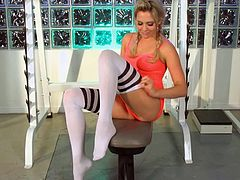 Check out the hottest blonde young girl get drilled while wearing her socks,She will ride and slurp this big man's meat,The sex is intense and will leave you begging for a tight young thing in a fantastic legging,Enjoy the scene!