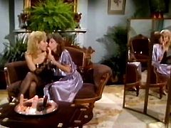 Steamy retro lesbian scene with two curvy babes in sexy lingerie
