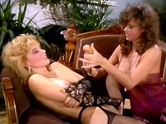 Check out two well stacked brunette and blonde lesbies sharing their sex toys. Babes fondle each other wearing lacy lingerie sets and suck dildos.