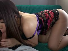 Charming Japanese brunette girl Chinatsu Kurusu gives blowjob to her coed at the back seat of the bus. Guy plays with her big tits and rips up her nylon pantyhose.