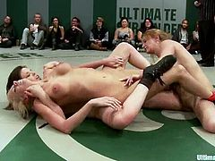 Isis Love, Jessie Cox, Holly Heart, Juliette March and Kaylee Hilton are having a battle on tatami. The lesbians wrestle with each other and don't lose a chance to rub each other's boobs and asses.