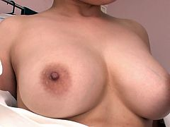 Eye catching Japanese hun has a big tits and loves when her man rubs her udders. Dude pulls aside her black thongs and properly finger fucks her puffy bearded cunt.