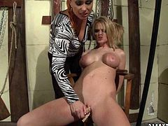 Cruel mistress tortures busty blonde. She puts clamps on her pussy and makes her suck fingers. Be pleased with hot and exciting BDSM 21 Sextury sex video.