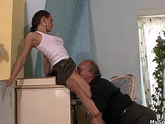 My bf fucks me hard, but one day his dad fucked me even harder! One time I entered the bathroom, not knowing his old man was there, jerking off. While I was in front of the mirror he come from the back and grabbed me. The old fart then spread my thighs and pussy licked me. Curious what happened next?