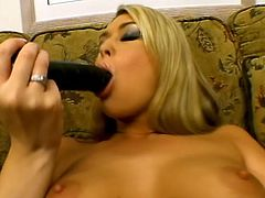 Here we got a sexy blonde with a tight shaved pussy who is enjoying a good hard anal fucking. She is taking a dildo and a cock.
