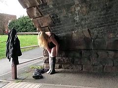 Blonde honeys public self-pollution and alfresco gash flashing of Sensuous Greenhorn nymph in daring exhibitionism
