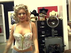 Playful and happy pornstars with awesome bodies and big tits in corsets and high heels get filmed in backstage and on set while filming provocative poarody on green screen.
