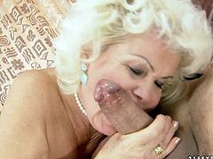 Cougar blonde whore rides meaty pole of one young guy. She is eager for his slime juice and starts to suck his dick like greedy. Be pleased with hot old and young sex movie.