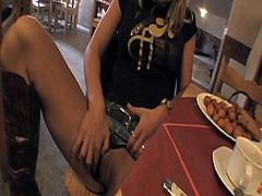 Watch this sexy blonde Czech babe in this hot public sex video, where this horny guy gives her money to have sex with him and she agrees.Enjoy her sucking this big cock and getting her tight pussy fucked hard in restaurant toilet.