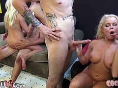 Britney Amber, Nikki Delano and Riley Reid are playing dirty games with three guys indoors. The girls kneel in front of the men and suck their wangs till they explode with cum.