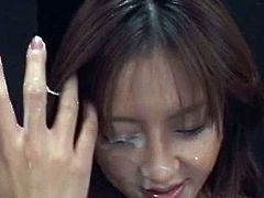 Alluring japanese slut goes nasty with huge load of cream splashing her face