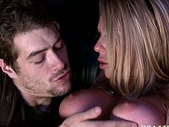 Busty cinema clerk Brynn Tyler gets fucked by Xander Corvus at work place