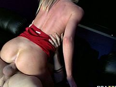Big jugged blonde strumpet Brynn Tyler choke son big dick of Xander at the cinema. After sucking that big prick Brynn rides it like a cowgirl.