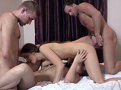 Two couples have a nice sex in the bedroom
