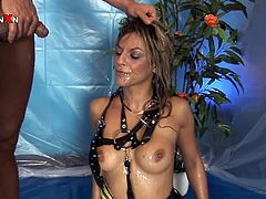 Blonde bombshell is getting naughty with some guy indoors. She pleases him with a perfect blowjob and then takes a crazy ride on his hard cock.