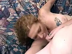 Filthy dude first fingered her mature cunt before he convinced to suck his tiny cock. This smart dude gets all what he wants.