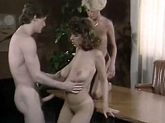Christy Canyon is a classy retro porn model. Check out how busty bitch shared fat cock with her girlfriend on the table. Girls eat each other's hairy pussies and get fucked missionary style.