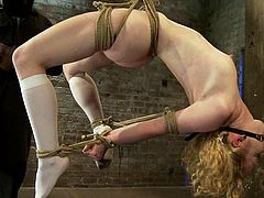 Nicki Blue the skinny girl with pigtails gets tied up and gagged by a master. Then he also fixes clothespins to her nipples.