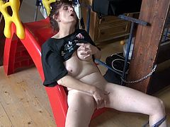 Ugly looking black haired old bitch exposes her big tits rubbing them and later gets to the bathroom finger fucking her smelly hairy snatch.
