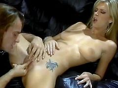 Cute tattooed blonde Brooke Banner shows her delicious pussy to some guy and allows him to play with it. Then they have sex in side-by-side and other positions and Brooke moans loudly with pleasure.
