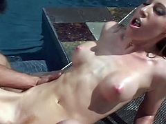 Beautiful chick in green bikini showing her body by the pool as she then gets her greedy snatch licked and it is ready for some heavy banging from his meaty cock.
