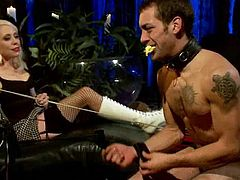 Some hot and hardcore femdom BDSM with a slender chick Loreleo Lee. She ties up DJ and makes him feel some pain, squeezing his balls and tugging his cock with twitches!