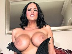 Brunette milf with huge boobs and needy cunt Carmella Bing rides hard on her fucking machine