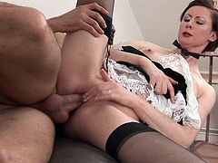 Milf in sexy stockings enjoys huge dick pounding her and splashing her face with cream