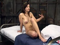 This slender and horny chick has a solution for her sexual hunger. Babe purchased that fucking machine and she spends time with it a lot!