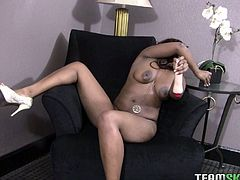 Sex-starved chocolate whore has invited you into the living room for a private show. Today she has chosen her favorite dildo and wants to reach powerful orgasms. Make sure you don't miss her wild masturbation session.