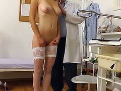 Alluring beauty in white stockings gets nude for her doc during gyno exam