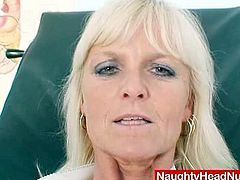 Naughty Head Nurses brings you an amazing free porn video where you can see how a vicious mature blonde nurse dildos her hairy pink cunt into heaven while assuming very hot poses.