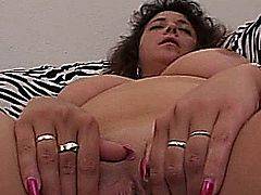 A nasty and busty amateur Milf gets her pussy fingered and toyed and gives a blowjob with facial cumshot
