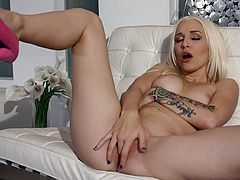 Hot blonde is truly amazing by deep sucking a fat cock in lusty POV action