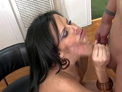 Tempting black haired whorish secretary Diamond Kitty with cheep dark make up and huge firm knockers fingers rough her wet pussy while giving head to Erick John in the office.