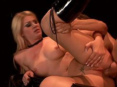 Admirable blonde Lacie Heart is getting naughty with some horny stud indoors. She favours him with a great blowjob and then allows the dude to fuck her pussy in cowgirl and side-by-side positions.