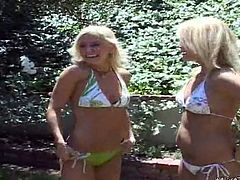 Three girls get into nature and get to fingerfucking, pussy licking, scissoring and face sitting! Three blonde bombshells make each other scream!