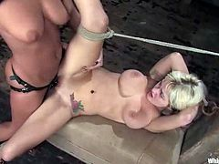 A skank called Bunnie and Sandra Romain are playing BDSM games in a basement. The submissive girl gets bound and humiliated by the dominatrix and then enjoys having a strapon in her cunt and butt.