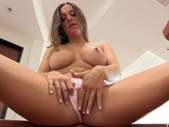 Abigail's amazing body will drive you crazy in this solo scene where she plays with her wet pussy on camera just for you.